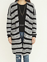 Women's Striped Black Cardigan , Casual Long Sleeve