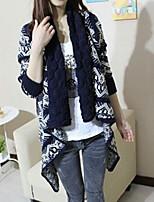 Women's Color Block / Jacquard Blue / White Cardigan , Vintage Long Sleeve
