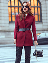 Women's Solid Red Coat , Vintage Long Sleeve Polyester / Wool Blends