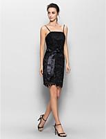 Vestido de Dama de Honor - Negro Corte Recto Tirantes - Corto Encaje