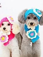 FUN OF PETS® Lovely Flower Design Knitted Hat & Scarf for Pets Dogs(Assorted Sizes and Colours)