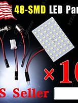 10X Festoon T10 BA9S White LED 48SMD Panel Interior Dome Map Light Bulb Lamp 12V