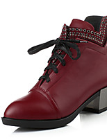 Women's Shoes Leatherette Chunky Heel Heels /  Pointed Toe Boots Outdoor / Office & Career / Casual Black / Burgundy