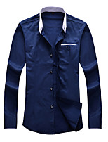 Men's Long Sleeve Shirt , Cotton / Polyester Casual / Work / Formal / Plus Sizes Pure