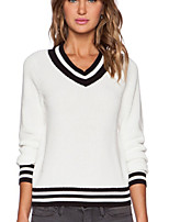 Women's Patchwork White Pullover , Casual Long Sleeve