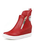 Damenschuhe - Stiefel - Lässig - Kunstleder - Niedriger Absatz - Rundeschuh - Schwarz / Rot / Weiß