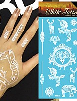 King Horse®5sheets Henna  Wedding  Henna India Tattoo Stickers White   Non Toxic/Wedding /Hawaiian  20.5*10cm Flower