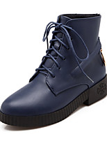 Women's Shoes Leatherette Low Heel Fashion Boots Boots Outdoor / Dress / Casual Black / Blue / Red / Beige