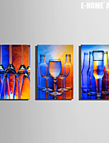 E-HOME® Stretched Canvas Art Glass Wine And Wine Bottle Decoration Painting Set of 3