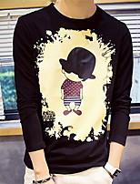 Masculino Camiseta Casual Estampado Algodão Manga Comprida Masculino