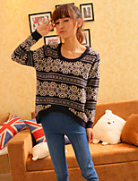 Women's Jacquard Red / Black / Beige Pullover , Vintage / Casual Long Sleeve