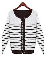 Women's Striped White Cardigan , Vintage Long Sleeve
