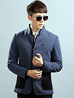 Men's Long Sleeve Jacket Polyester Casual / Plus Sizes Pure