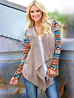 Women's Geometric / Patchwork Black / Camel Cardigan , Vintage / Casual Long Sleeve