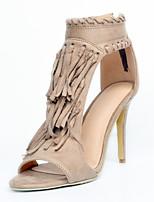 Women's Shoes Fleece Stiletto Heel Peep Toe / Gladiator Sandals Party & Evening / Dress / Casual Khaki