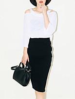 Women's Striped / Solid Black Skirts , Vintage Midi