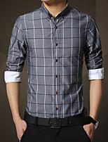 In the autumn of 2015 long sleeved shirts slim men Plaid Shirt Korean youth Plaid