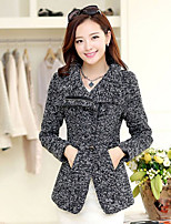 Women's Patchwork Gray Coat , Casual Long Sleeve Cotton Blends