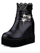 Women's Shoes Platform Round Toe Boots Casual Black