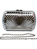 Women Metal Minaudiere Clutch / Evening Bag - Gold / Gray