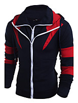 Men's Sport Casual Hat Hoodie Solid Color Block Hooded strenchy Cotton Long Sleeve Spring Fall