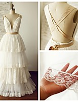 웨딩 드레스 - 아이보리(색상은 모니터에 따라 다를 수 있음) A 라인 바닥 길이 V 넥 레이스 / 튤