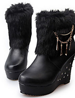 Women's Shoes Wedge Heel Round Toe Boots Casual Black / White