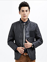 Men's Long Sleeve Jacket , Cotton / Polyester Casual Pure