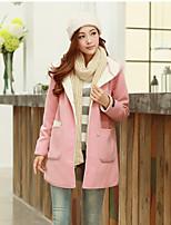 Women's Casual Long Sleeve Wool Blends Solid Coat