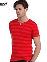 Lesmart Men's Business Casual Pure Cotton Stripes Pattern Soft Henley Collar Slim Fit T-Shirts