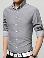Men's Long Sleeve Shirt , Cotton / Cotton Blend / Polyester Casual / Formal Pure