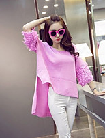 Women's Solid / Patchwork Pink / White / Orange Pullover , Casual ¾ Sleeve