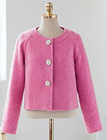Women's Solid Pink Coat , Casual Long Sleeve Cotton Blends