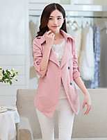 Women's Solid Blue / Pink / Yellow Blazer , Casual V Neck Long Sleeve