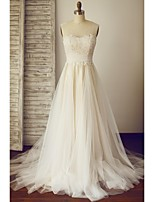 A-line Wedding Dress - Champagne Sweep/Brush Train Scoop Lace / Tulle