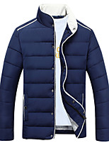 Men's Casual Slim Regular Padded Coat Simple Plus Size / Casual/Daily Solid-Cotton / Polyester Cotton Long Sleeve Standing CollarBlue / Red / Beige /