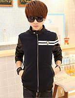 Men's Long Sleeve Jacket , Cotton Blend Casual / Sport Striped