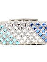 Women Metal Flap Clutch / Evening Bag - Silver