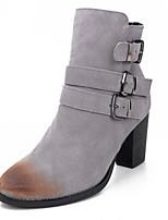 Chaussures Femme - Décontracté - Noir / Rouge / Gris - Gros Talon - Bout Arrondi - Bottes - Daim