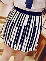Women's Striped White Skirts , Casual Mini