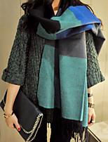 Women Wool Blend Color Block Scarf , Vintage / Casual
