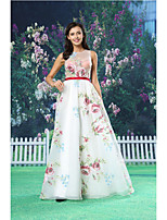 A-line Formal Evening Dress - White Floor-length Jewel Organza / Satin