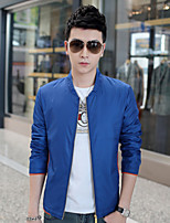 Men's Long Sleeve Jacket , Cotton / Cotton Blend / Polyester Casual / Work / Plus Sizes Pure Jacket Coat