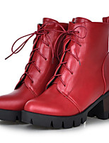 Women's Shoes Leatherette Chunky Heel Fashion Boots Boots Outdoor / Dress / Casual Black / Yellow / Red