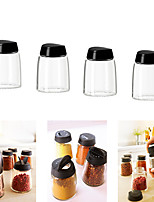 Set of 4 Ihardig Spice Jar Glass Black Cover Sprinkle and Pour