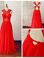 Formal Evening Dress - Ruby A-line V-neck Floor-length Chiffon