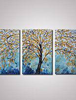 3 Panels Abstract Tree with Yellow Leaves Oil Painting on Cavnas Ready to Hang