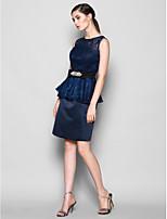 Vestido de Dama de Honor - Azul Marino Oscuro Corte Recto Escote Joya - Hasta la Rodilla Encaje/Satén