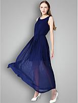Robe de Demoiselle d'Honneur  - Orange / Vert de Trèfle / Bleu Océan A-line Col U profond Longueur cheville Mousseline polyester