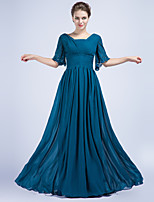 Formal Evening Dress - Ocean Blue Sheath/Column V-neck Floor-length Chiffon